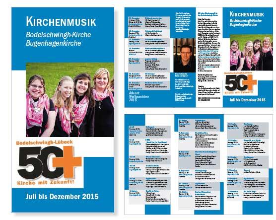 6-seitiger Flyer DIN lang für die Bodelschwing-Kirche und die Bugenhagenkirche, Halbjahresprogramm