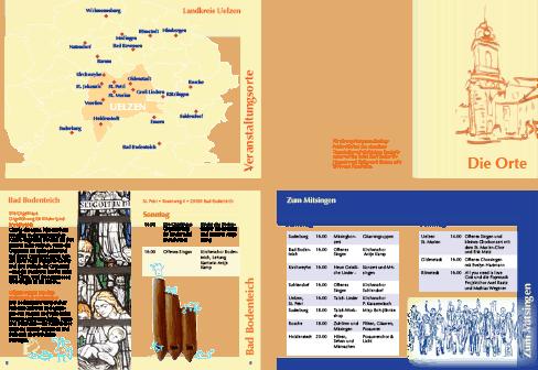 Seiten aus dem Programmheft: Umschlagseite innen mit Orten, Zwischenseite zu den Orten, Ortsseite, spezielle Seiten zu Themen