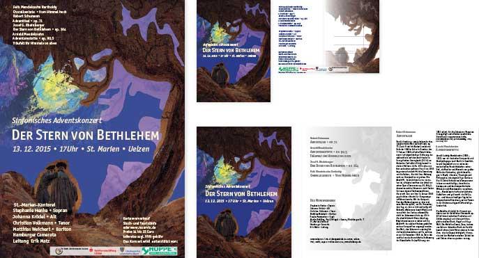 Stern über Bethlehem, Romantisches Chorkonzert, Uelzen 2016, Plakat, Postkarte, Programmheft, Gestaltung von Felice Meer, chordesign