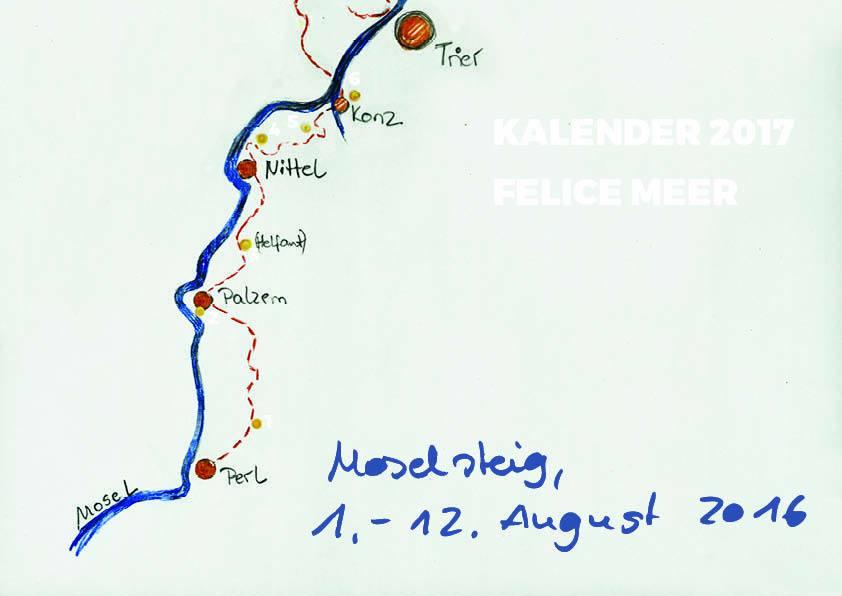 Kalender 2017, Moselsteig wandern, Skizzen, Zeichnungen