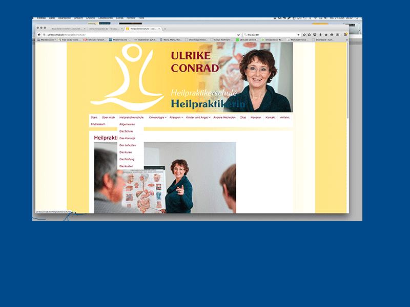 Ulrike Conrad, Webseite, Gestaltung von Felice Meer