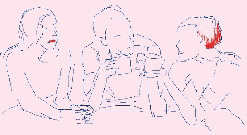 Beratung, Gespraech, Mediation Zeichnung von Felice Meer