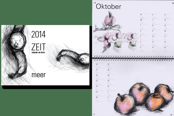 Kalender 2014 Illusttrationen zum Thema Zeit
