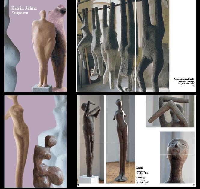 Katalog der Bildhauerin Katrin Jähne, Layout Felice Meer, Umschlag und Beispiel Innenseiten