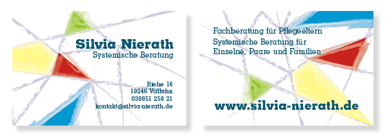 Silvia Nierath, Visitenkarte mit Grafik von Felice Meer