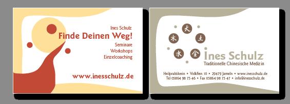 Ines Schulz, Visitenkarte, Logo und Logoüberarbeitung von Felice Meer