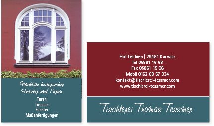 Thomas Tessmer Tischler im Wendland, Visitenkarte