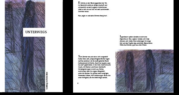 """Erzählung """"Unterwegs"""", Titel und eine Innenseite, Text und llustration von Katrin Jähne, Layout von Felice Meer"""