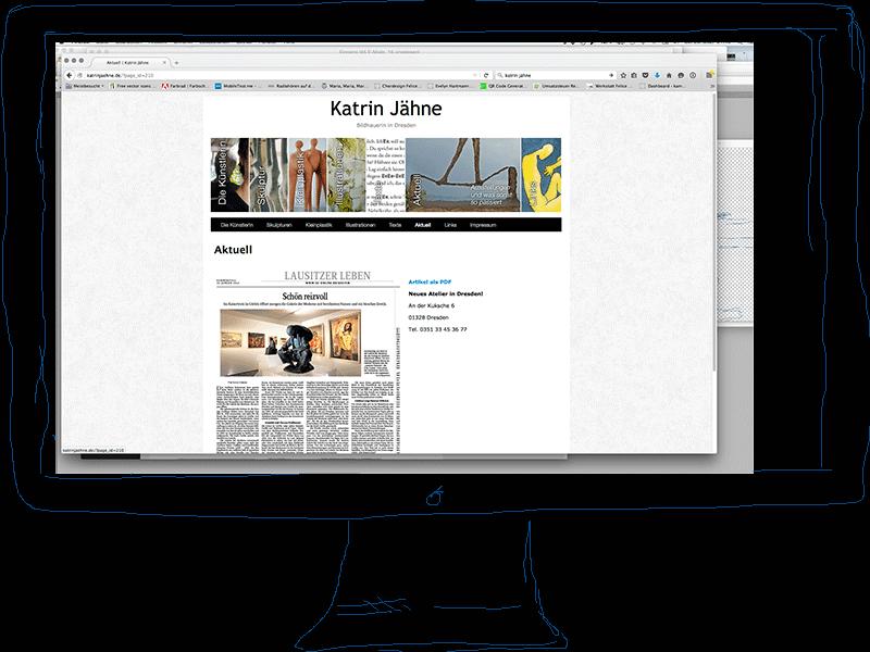 Webseite der Künstlerin, Konzept und Gestaltung Felice Meer