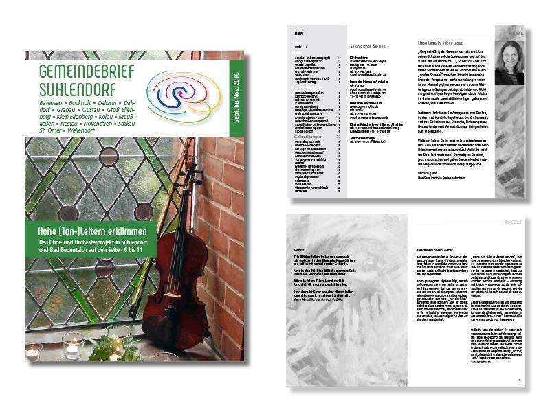 Gemeindebrief Suhlendorf, 09/16. Titelthema ist ein Musikprojekt