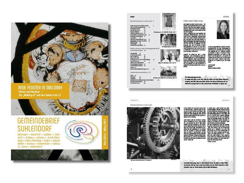 Gemeindebrief Suhlendorf, 12/16: Das Besondere in dieser Ausgabe: die unten rechts auf jeder Seite fortlaufend erzählte Weihnachtsgeschichte