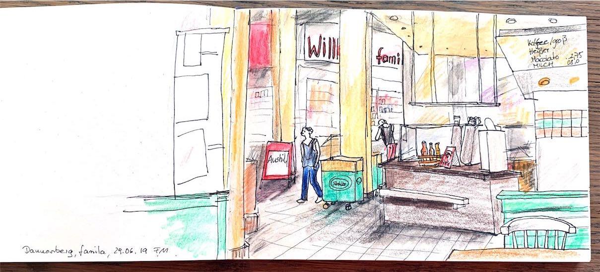 Eingang Supermarkt Skizze
