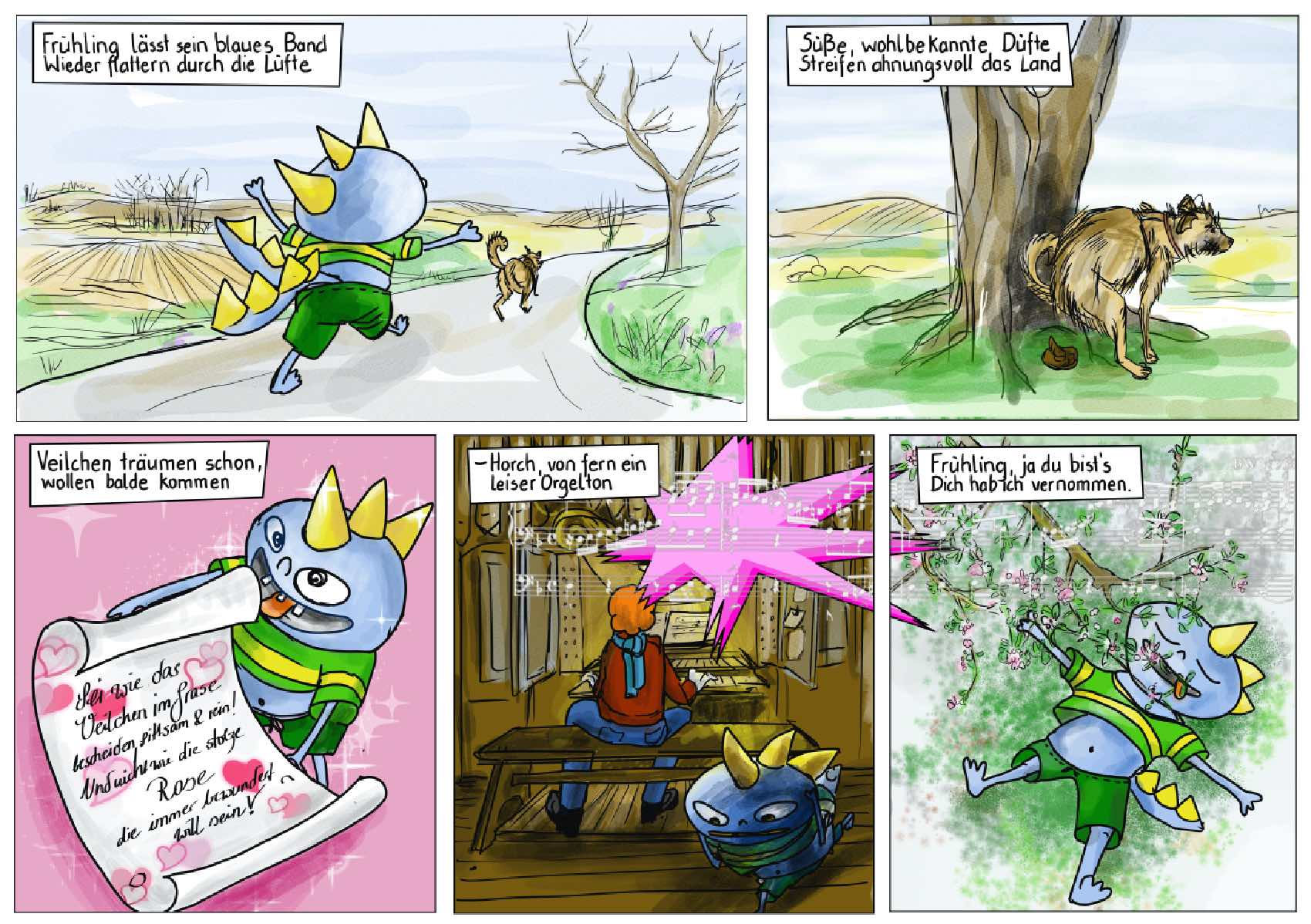 Frühlingsgedicht Mörike Illustration comic