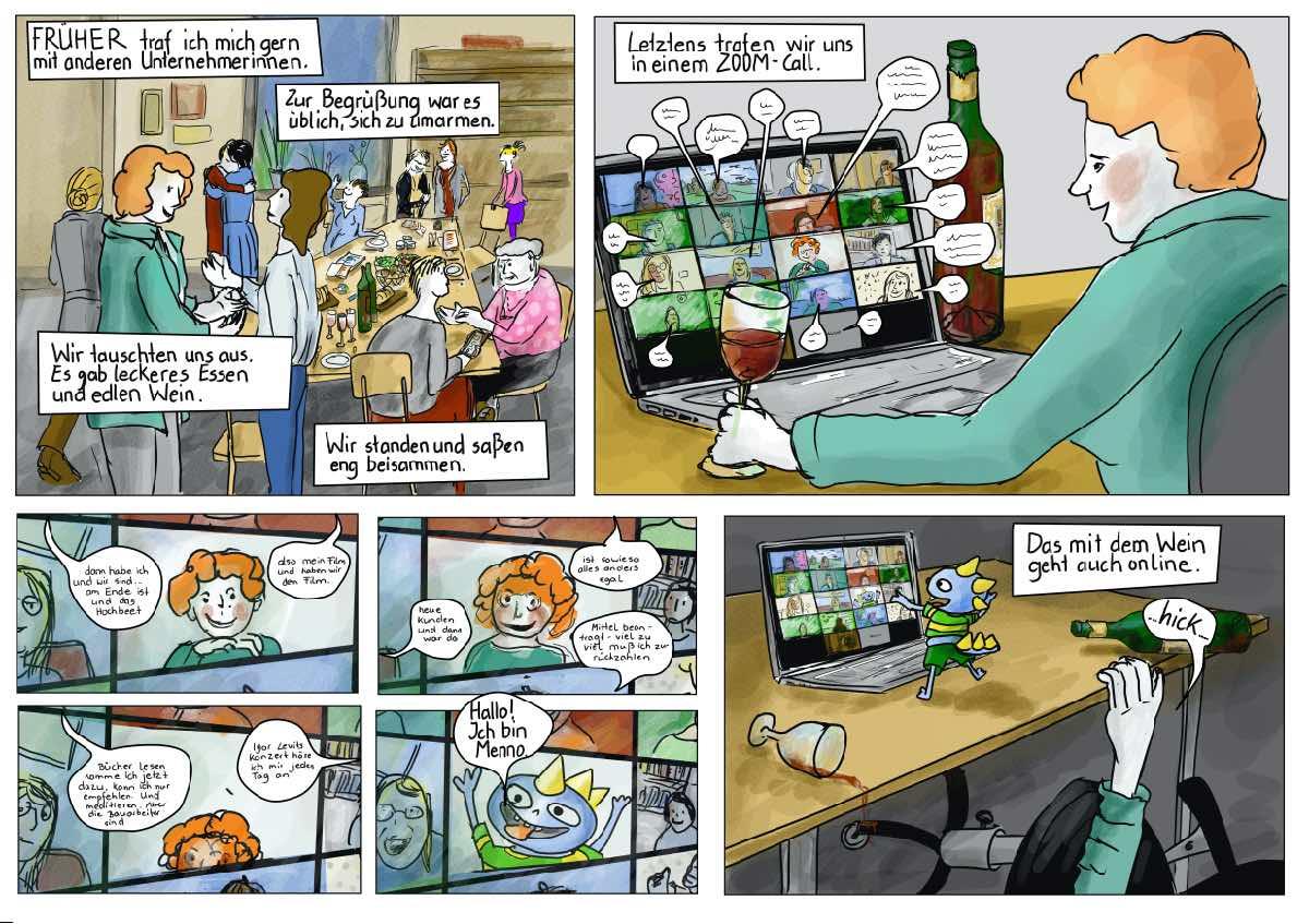 Netzwerken mit Zoom Comic