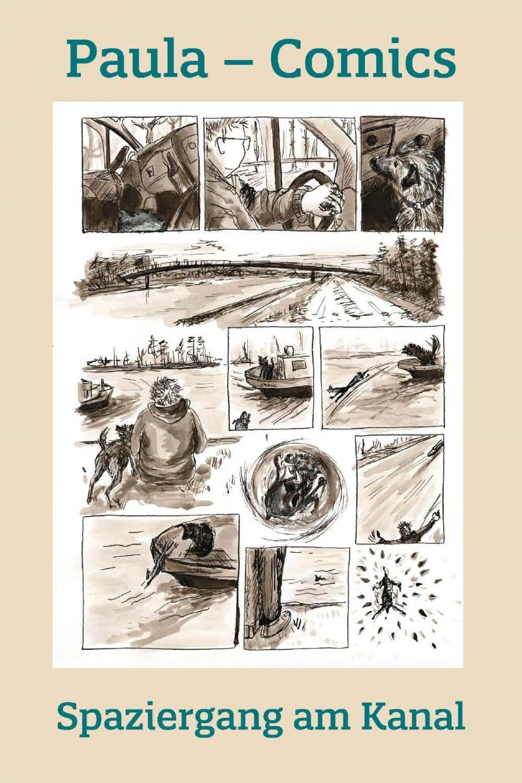 Spazieren am Wasser mit Hund Comic