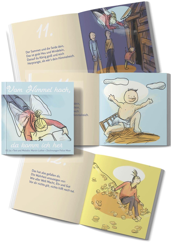 Vom Himmel hoch, da komm ich her Buch mit Text und Illustrationen